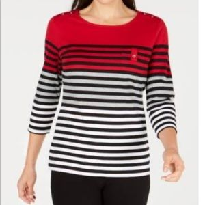 Karen Scott Colorblocked Striped Top New Red Amore